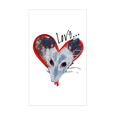 Possum Love Rectangle Sticker