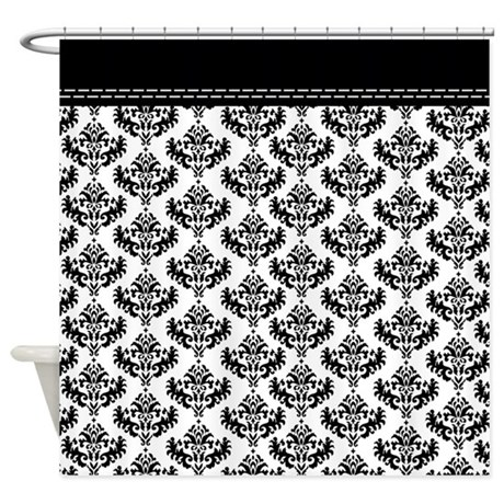 Black and White Damask shower curtain with top black border