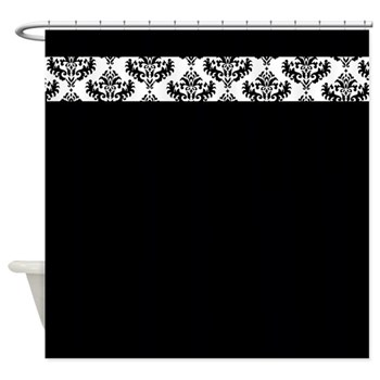 Black shower curtain with stylish damask strip
