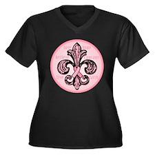 FleurPinkRibbonRwTR Plus Size T-Shirt