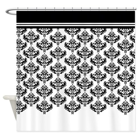 Black Damask shower curtain with white base and black top