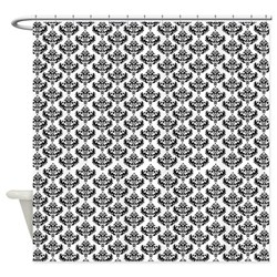 Damask shower curtain with no borders or trim