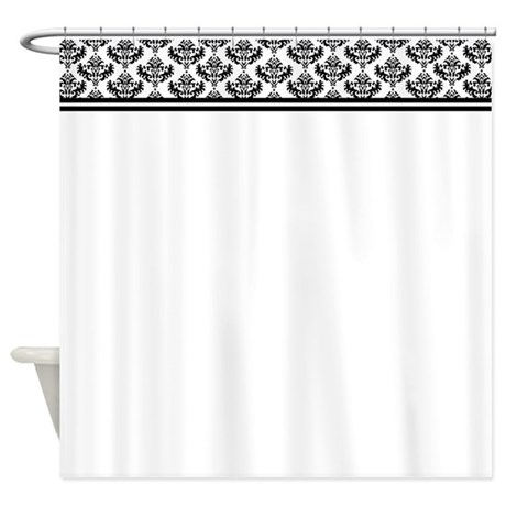 White shower curtain with damask border on top