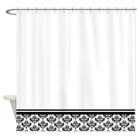 White shower curtain with damask bottom border
