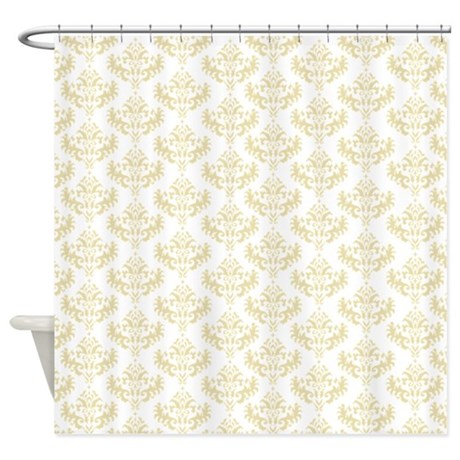 Cream / matt gold damask shower curtain