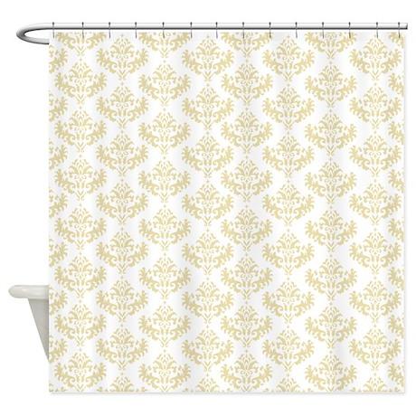 Cream / Matt Gold Damask Shower Curtain .