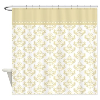 Champagne / Matt Gold Damask Shower Curtain