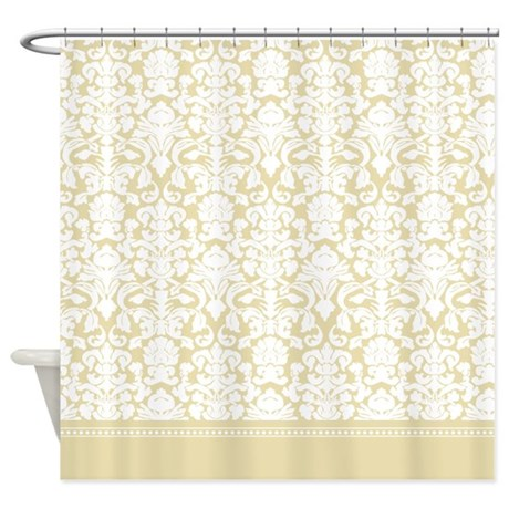 Fancy French Beige / Gold Damask Shower Curtain