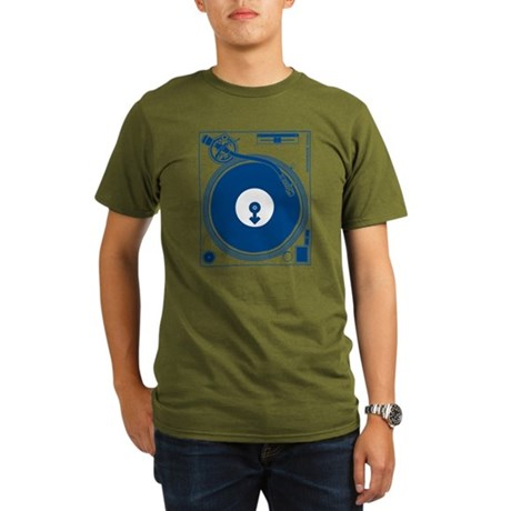 Male Turntable Organic Men's T-Shirt (dark)