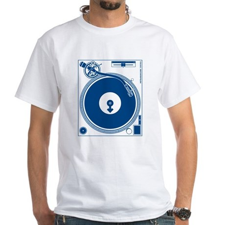 Male Turntable White T-Shirt