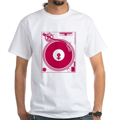 Female Turntable White T-Shirt