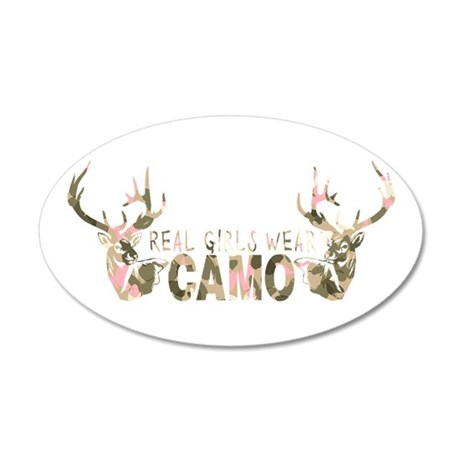 REAL GIRLS WEAR CAMO 35x21 Oval Wall Decal