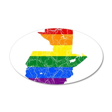 Guatemala Rainbow Pride Flag And Map 35x21 Oval Wa