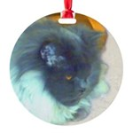 Blue Persian Cat Round Ornament