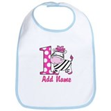 First Birthday Pink Zebra 1st Birthday Bib