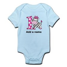 Pink Zebra 1st Birthday Infant Bodysuit