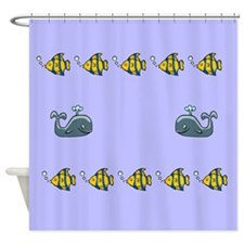 Whales and Fish Shower Curtain