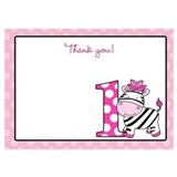 1st Birthday Pink Zebra Thank you Card 5x7 Flat