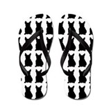 French Bulldog Silhouette Flip Flops In Black Flip