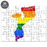 Mozambique Rainbow Pride Flag And Map Puzzle