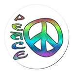 Rainbow Peace Round Car Magnet