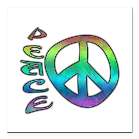 "Rainbow Peace Square Car Magnet 3"" x 3"""