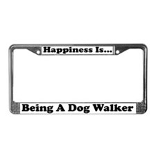 Happiness Dog Walker wht License Plate Frame