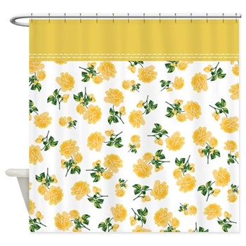 Country cottage yellow floral shower curtain