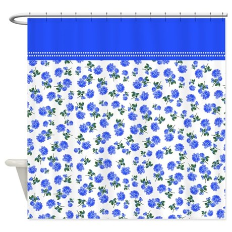 small print dark blue roses vintage country cottage floral shower curtain
