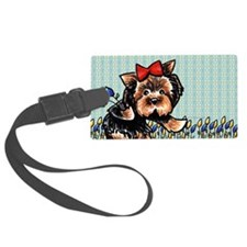 Yorkie n Tulips Luggage Tag