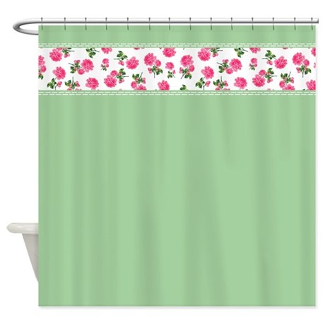 bright pink roses on green shabby chic floral shower curtain
