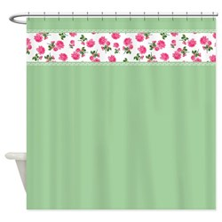 bright pink roses on green shabby chic vintage shower curtain