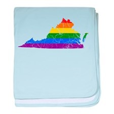 Virginia Rainbow Pride Flag And Map baby blanket