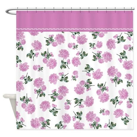 pink floral shabby chic white shower curtain