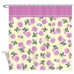 pink floral shabby chic shower curtain