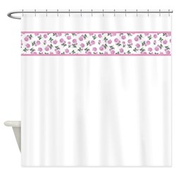 light pink flowers shabby chic shower curtain