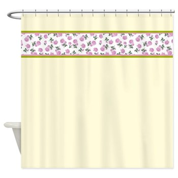 femininem girly and delicate tiny roses on cream off white shabby chic shower curtain