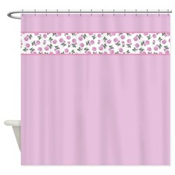 pink shower curtain with shabby chic roses