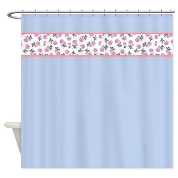 Pastel blue with pink roses shabby chic shower curtain