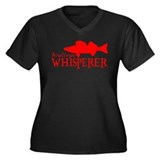 WALLEYE WHISPERER Women's Plus Size V-Neck Dark T-