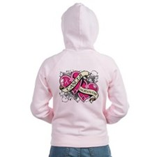 Heart Breast Cancer Survivor Zip Hoodie