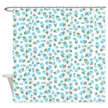 Baby blue pastel floral shabby chic shower curtain