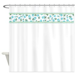 Baby Blue flowers on white shabby chic shower curtain