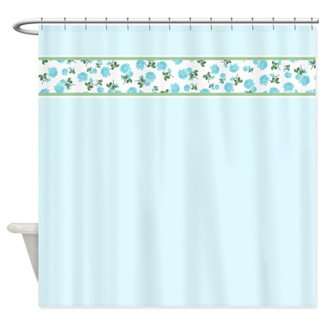 Baby Blue flowers on pastel blue country cottage shower curtain