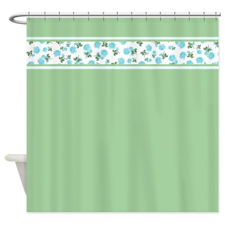 Green Vintage Floral shower curtain with baby blue flowers