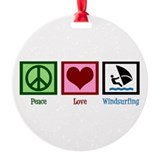 Peace Love Windsurfing Ornament