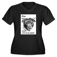 STOP ANIMAL ABUSE Women's Plus Size V-Neck Dark T-