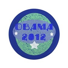 "Blue Green Obama 2012 3.5"" Button (100 pack)"