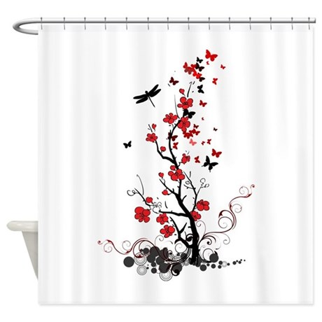 Black and Red Flowers Shower Curtain by alondrascreations