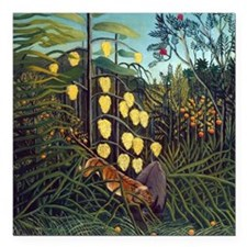 Henri Rousseau Tiger and Buffalo Square Car Magnet